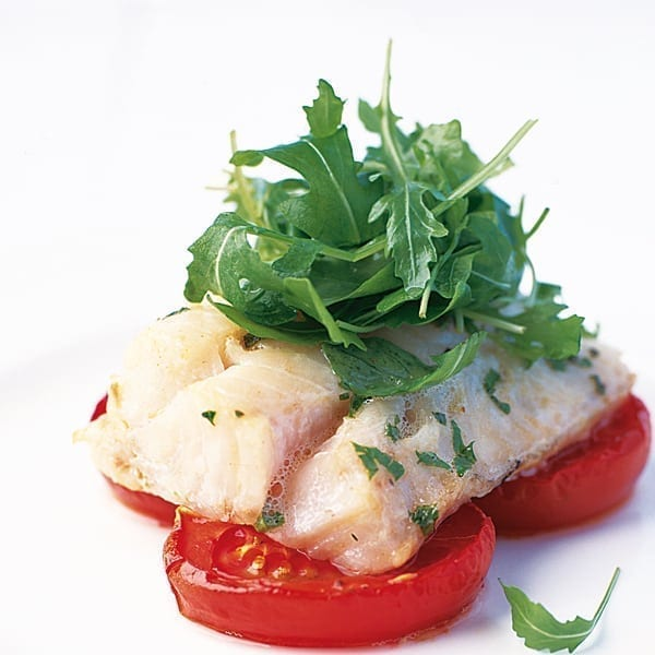 Roasted herbed cod with oven-dried tomatoes and rocket salad