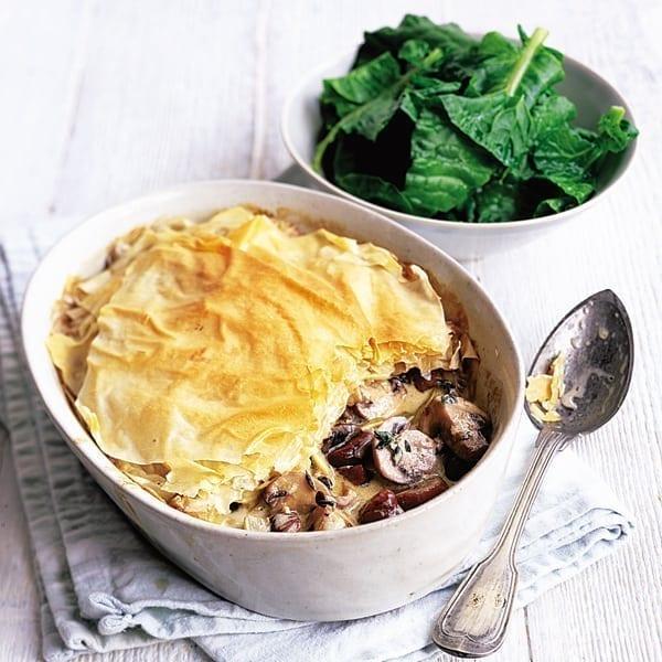 Mushroom and chestnut filo pie