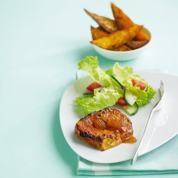 Tikka pork chops with Bombay-spiced sweet potato wedges