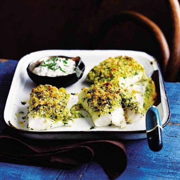 Baked fish with a herb and lemon crust