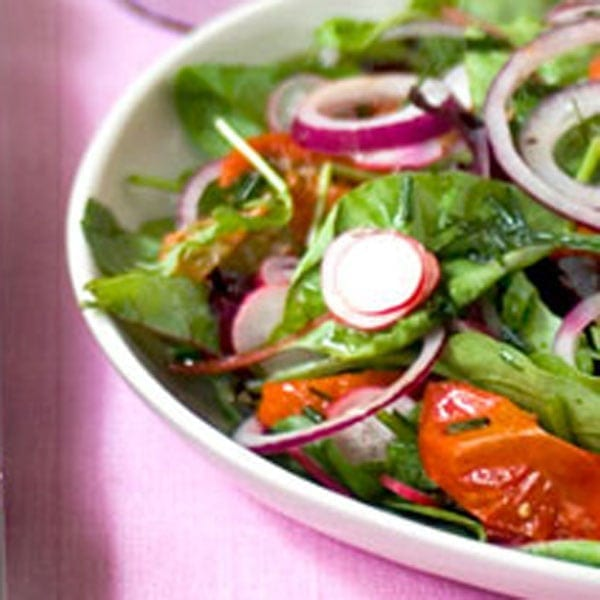 Tomato, red onion and radish salad