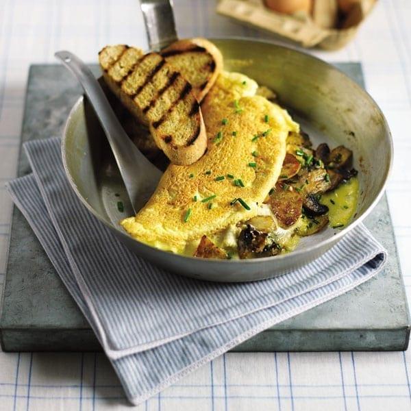 Mushroom rolled omelettes