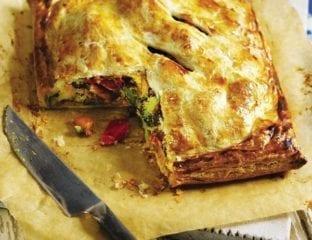 Roast vegetable and houmous pie