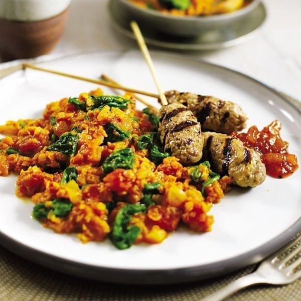 Lentil and tomato dhal with lamb koftas