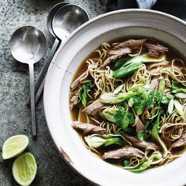 Chinese duck noodle broth