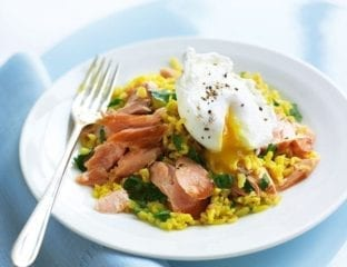 Hot smoked salmon kedgeree with soft-poached eggs
