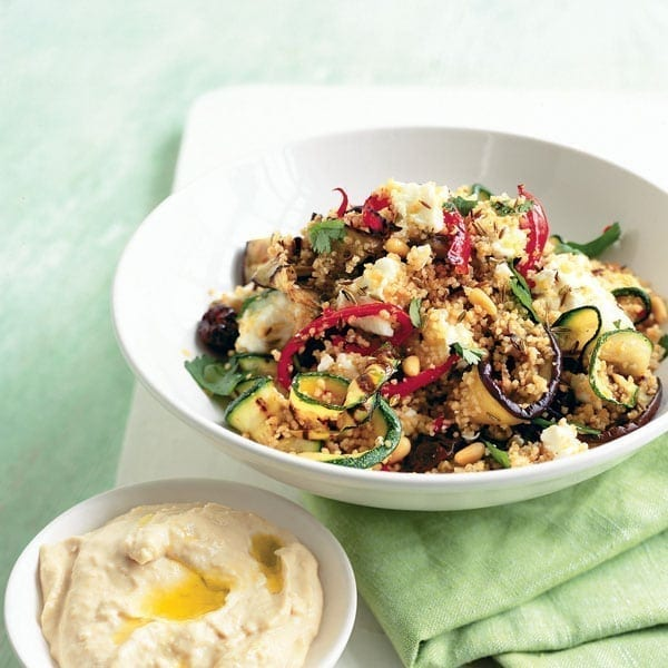 Griddled vegetables and feta couscous