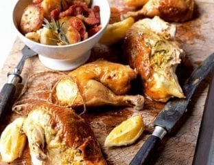 Garlic roast chicken with rosemary and pancetta