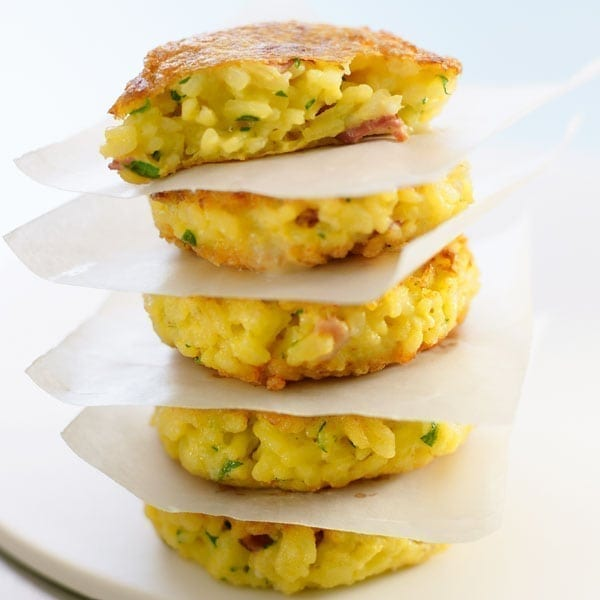 Cheese and ham risotto cakes