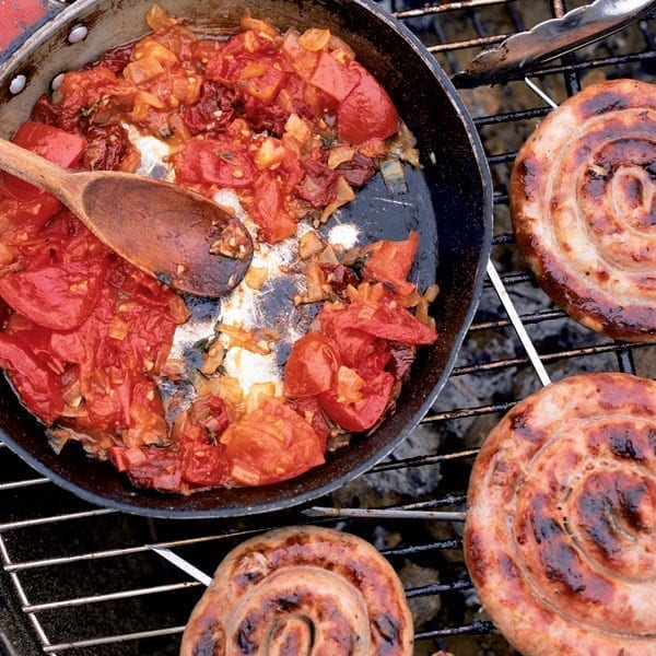 Cumberland sausage ring with scorched tomato relish