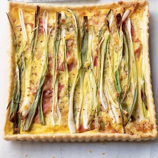 Spring onion, ham and mustard tart