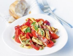 Peppers and halloumi with herby caper dressing
