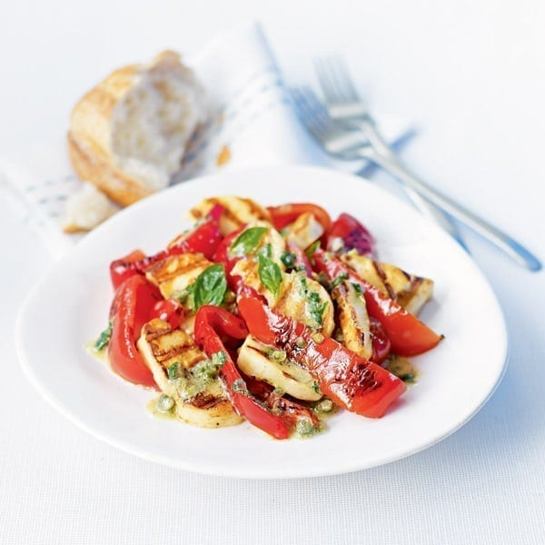 Peppers and haloumi with herby caper dressing