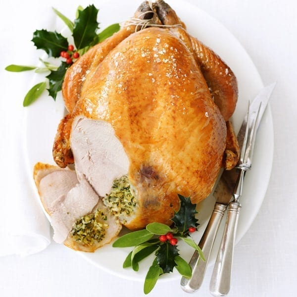 Old-fashioned roast turkey with fresh herb stuffing
