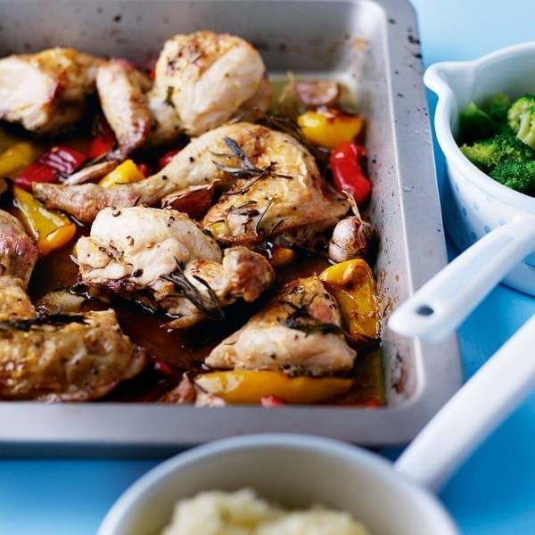 Lemon roast chicken with peppers
