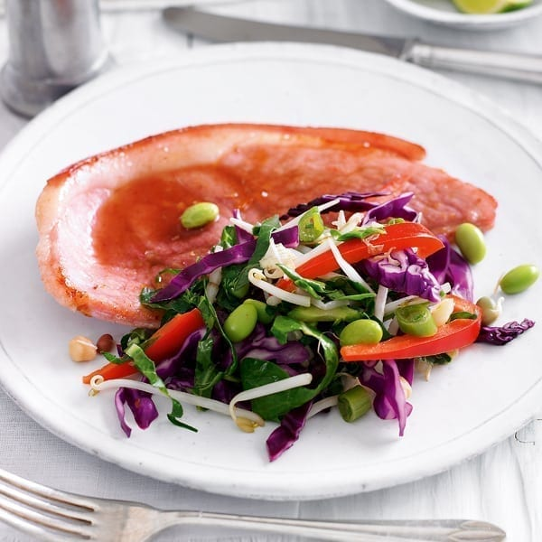 Quick sweet gammon with stir-fry vegetables