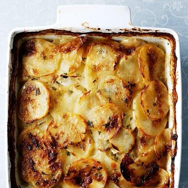 Baked creamy celeriac and potato gratin