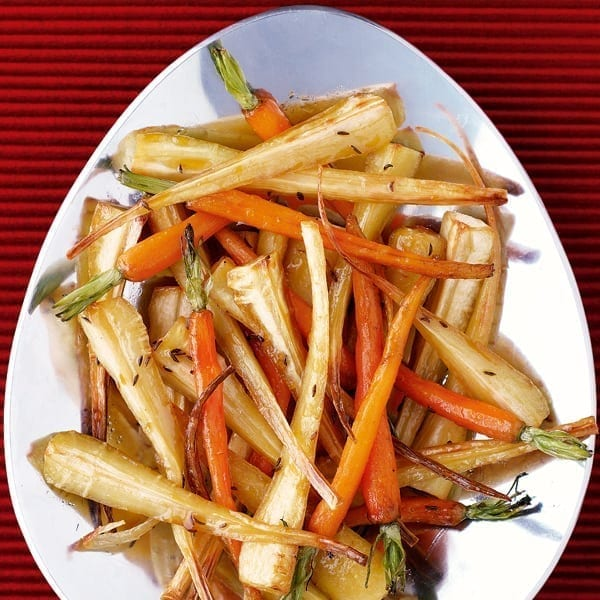 Caraway and honey-roast carrots and parsnips