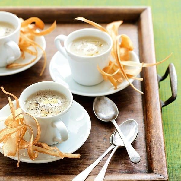 Artichoke soup and parsnip crisps