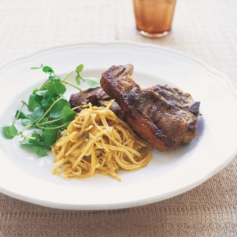 Lamb chops with celeriac and anchovy salad