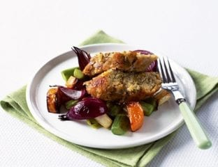 Nut roast with roasted mixed vegetables