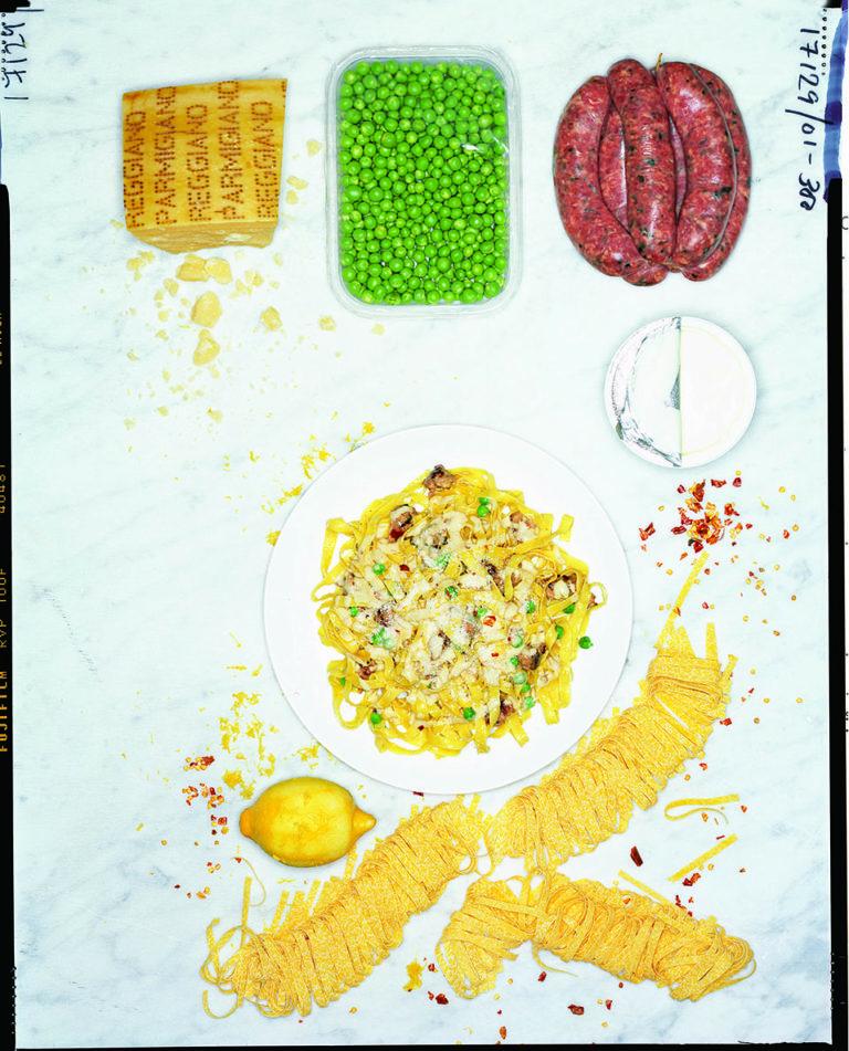 Creamy pork pasta with lemon, chilli and peas