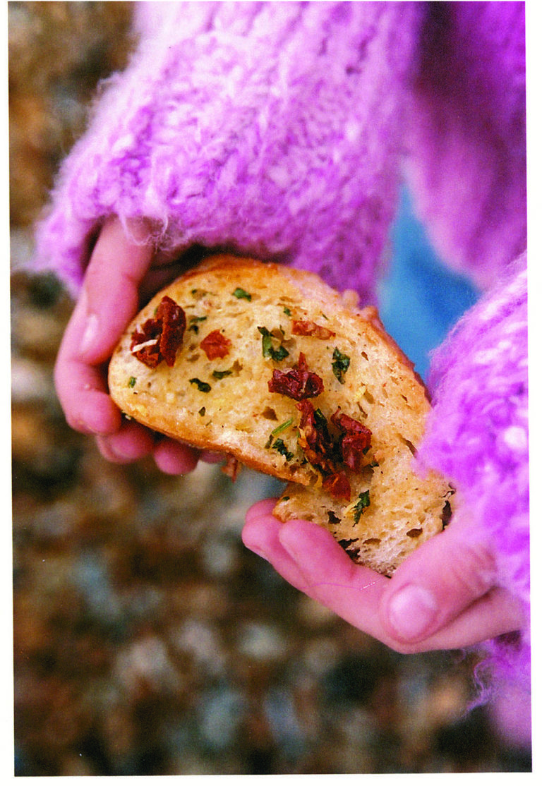 Sun-dried tomato, garlic and parsley bread
