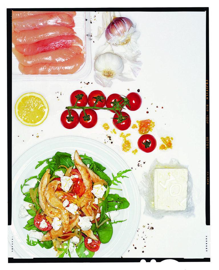 Chicken, tomato, feta and lemon salad