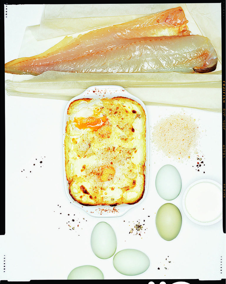 Haddock, cream and egg gratin