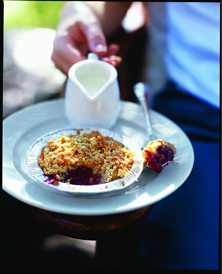 Individual raspberry and almond crumbles