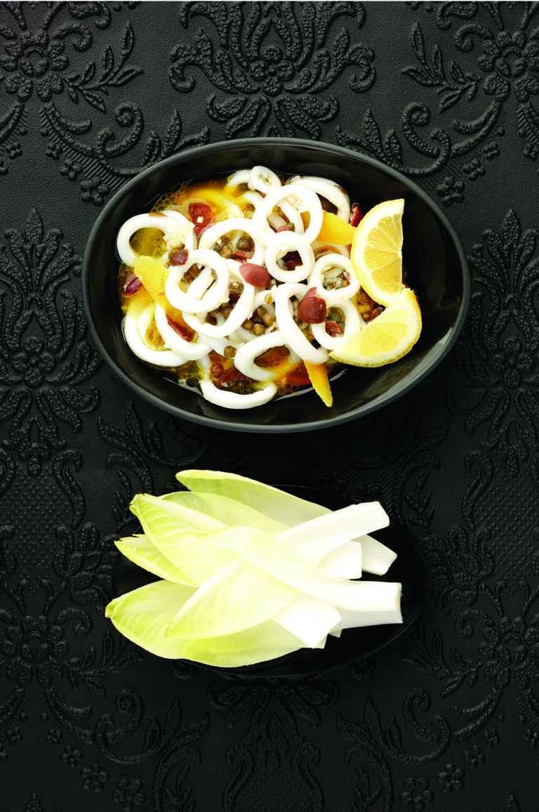 Squid, lemon and caper salad