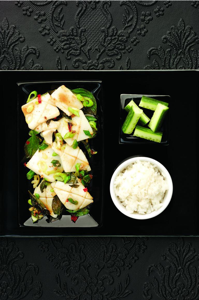 Squid with Thai basil