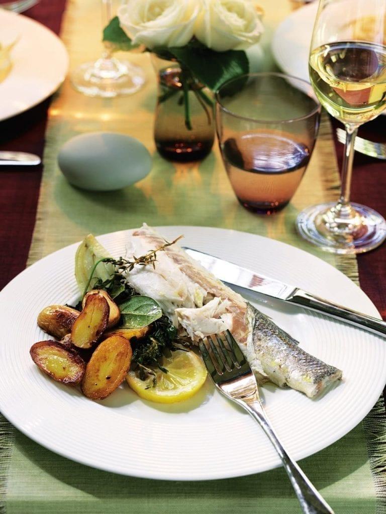 Fennel, lemon and dill baked sea bass