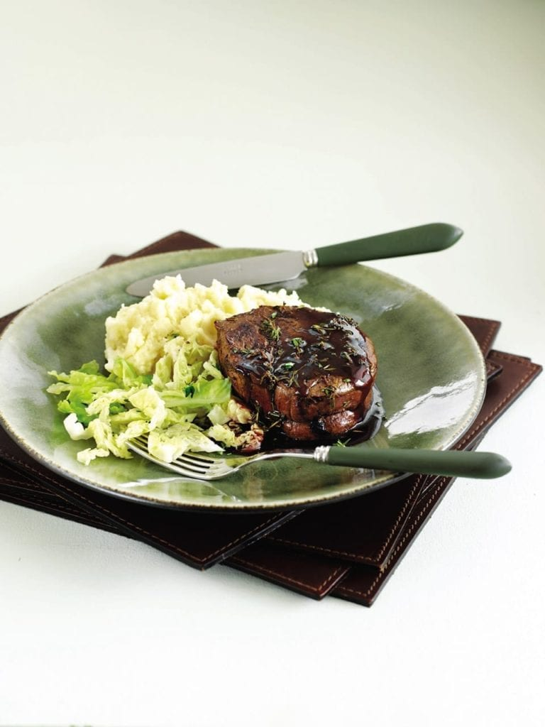 Balsamic steak with Dijon mash and cabbage