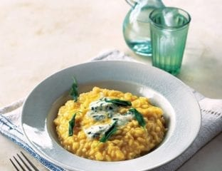 Squash and blue cheese risotto