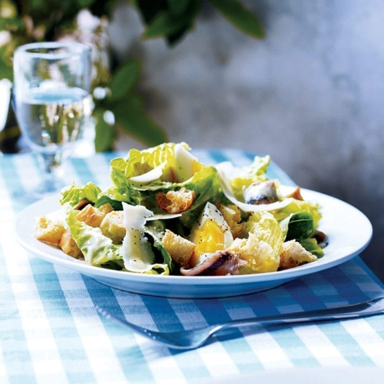 Cos, anchovy, egg and crouton salad with a Grana Padano dressing