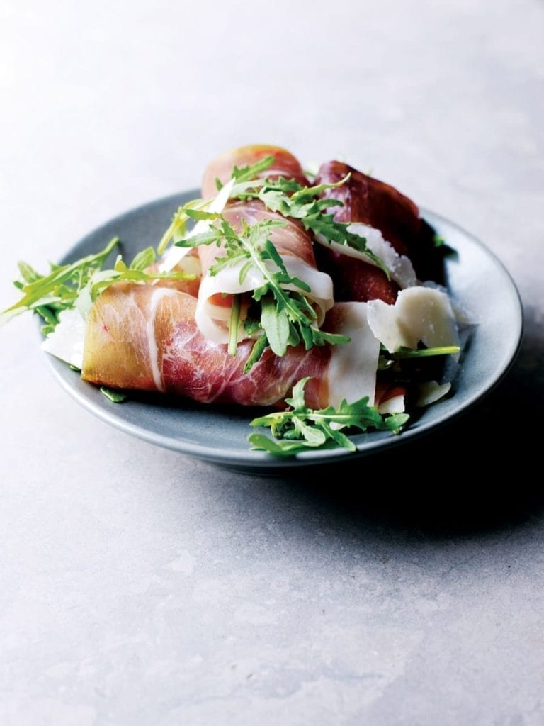 Ham and bresaola rolls with rocket and Grana Padano