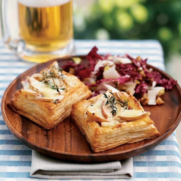 Pear and blue cheese tarts