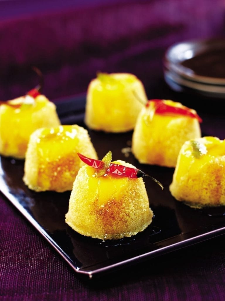 Mango puddings with chilli syrup