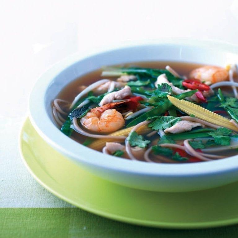 Prawn, chicken and pak choi noodles