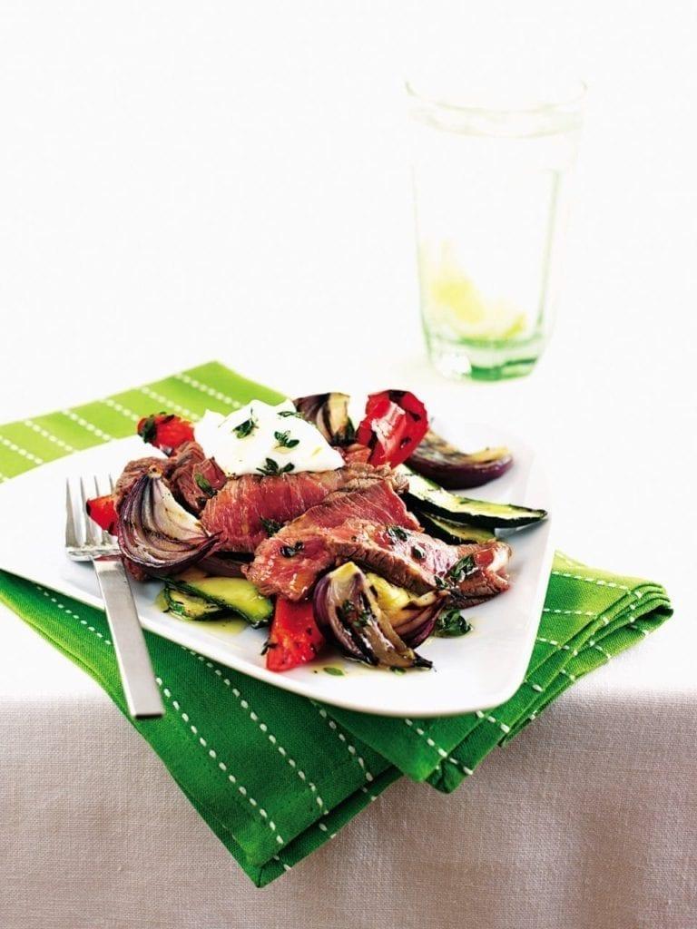 Seared steak on Mediterranean vegetables
