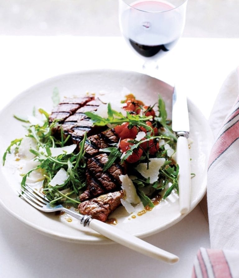 Steak tagliata with roasted vine tomatoes