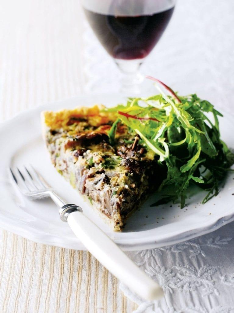 Wild mushroom, mascarpone and tarragon torte