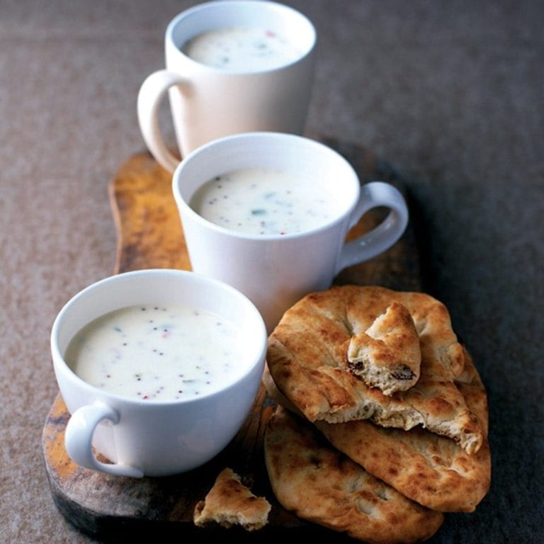 Yogurt soup with chillies, coriander and black mustard seeds