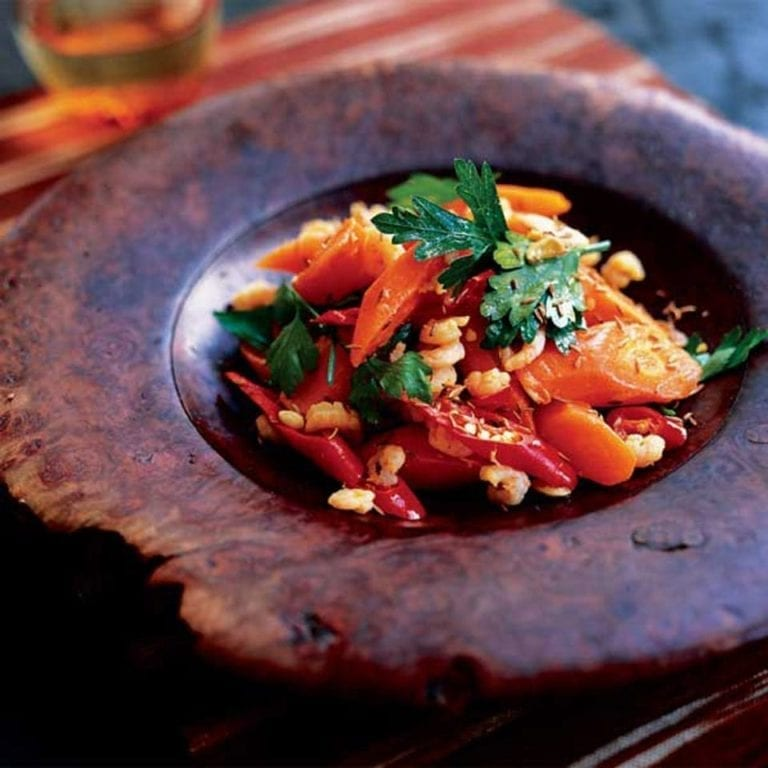 Prawns with carrots, chilli and cumin
