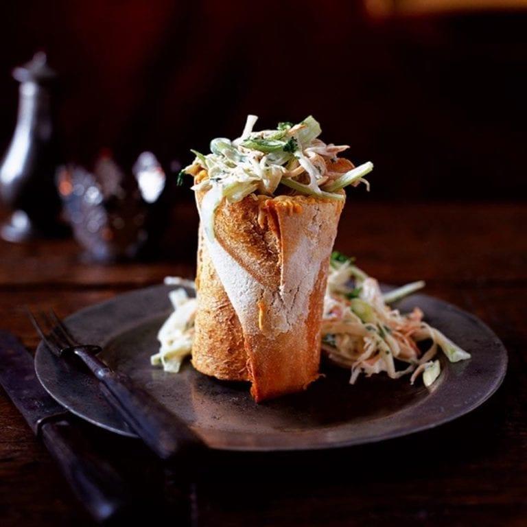 Turkey coleslaw in a baguette
