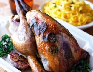 Roast guinea fowl with truffles and tagliatelle
