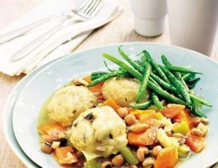 Vegetable stew with herb dumplings