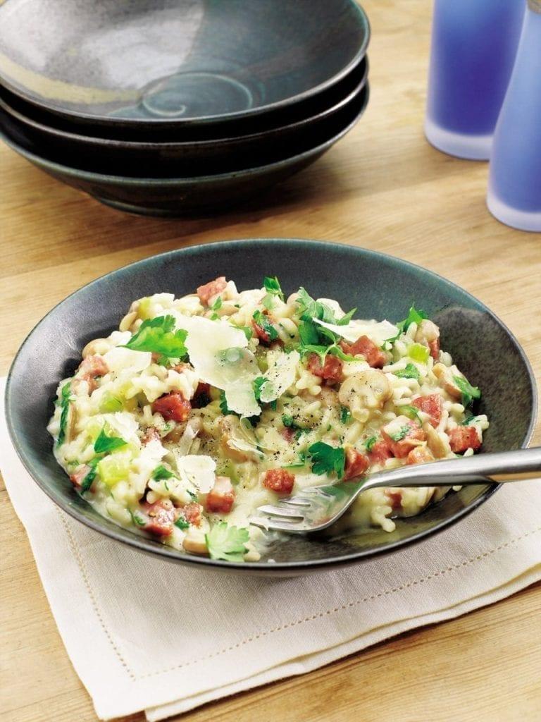 Mushroom and salami risotto