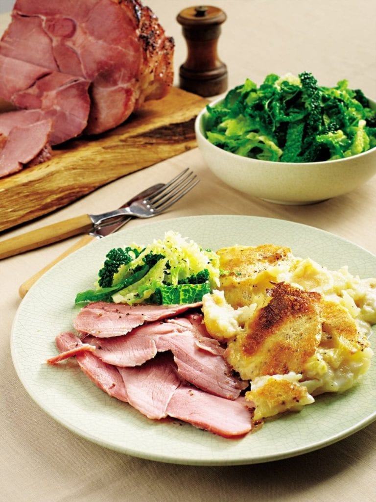 Maple syrup and mustard gammon with gratin